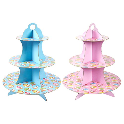 2Pack Cardboard Cupcake Stand  3Tiered Dessert Stand Cupcake Tower  Cupcake Tree Display for Baby Showers Weddings Birthdays Blue and Pink 117 x 135 x 117 Inches