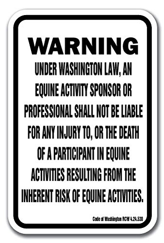 "Washington Equine 12"" x 18"" Aluminum Sign Warning Statute Horse Farm"