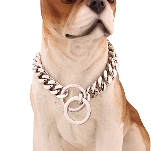 "FANS JEWELRY 12mm Stainless Steel Silver Tone Curb Cuban Chain Dogs Choker Necklace 12""-36"" (24 Inch)"