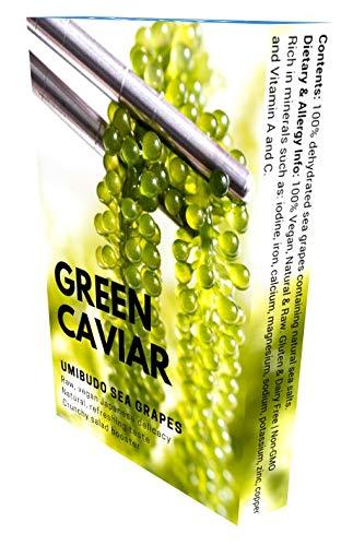 Umibudo Sea Grapes - Nettogewicht: 100g - Meerestrauben Algen / Grüner Kaviar Seegras - Japanische Delikatesse - Dehydriert, Mariniert in Salzwasser