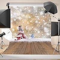 GooEoo 5×7フィートクリスマスホワイト雪だるま木製の床の写真の背景カスタマイズされたスタジオ写真の背景スタジオの小道具10835