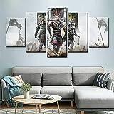 Knight Samurai Wall Art Painting Game Poster Lienzo Imagen Sala de Estar decoración del hogar,Pintura sin Marco,20x35cmx2, 20x45cmx2, 20x55cmx1