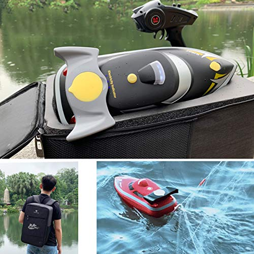 """SOWOFA 16.1"""" (41cm ) 2.4Ghz Large Remote Control Boat Feeding Fish Bait Speedboat Submarine Ship with Night Lights for 2-Hours-Driving 7km/h"""