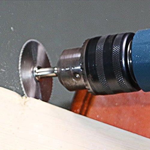 Shirt Luv 5X HSS Circular Wood Cutting Saw Blade Discs + 2X Mandrel Drill for Rotary Tool Garden Home Improvement Tools