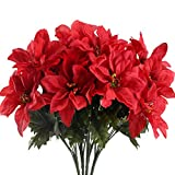 HUAESIN 4 Pack Artificial Poinsettia Bushes Silk Fabric Poinsettia Bushes Plants for Indoor Outdoor Xmas Christmas Tree Ornament Home Porch Red