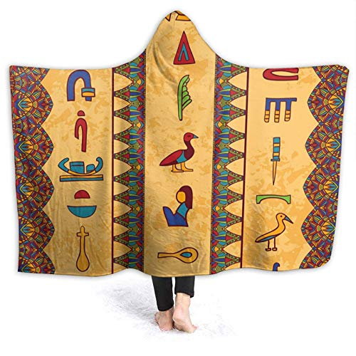 OLGCZM Ancient Egyptian Hieroglyphs Super Soft Light Weight Throw Wearable Hooded Blanket Sherpa Fleece Summer Quilt for Bed Couch Sofa