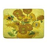 Sunny R Van Gogh Girasoles Alfombra Decorativa Cocina Baño Alfombra Antideslizante Entrada Suave Alfombra de la Puerta Delantera 15.7×23.5 Pulgadas
