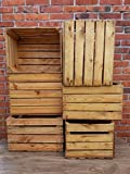6 caisses de pomme en bois solide et solide pour fruits vintage, décoration de la maison utilisée et nettoyée.