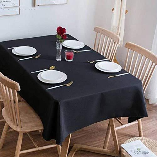 Mantel rectangular sólido negro, para camping, hotel, boda, fiesta, cuadrado, mesa de comedor y mesa de café