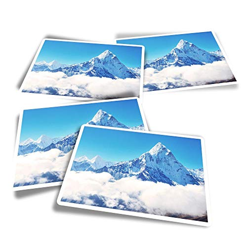 Vinyl Rectangle Stickers (Set of 4) - Snowy Mount Everest Mountaineering Fun Decals for Laptops,Tablets,Luggage,Scrap Booking,Fridges #15689
