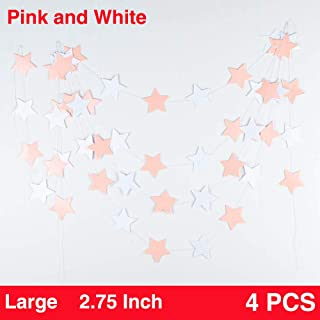 We Moment Glitter Paper Garland Twinkle Star Hanging Garland for Party Decorations,Pink White,Pack of 4