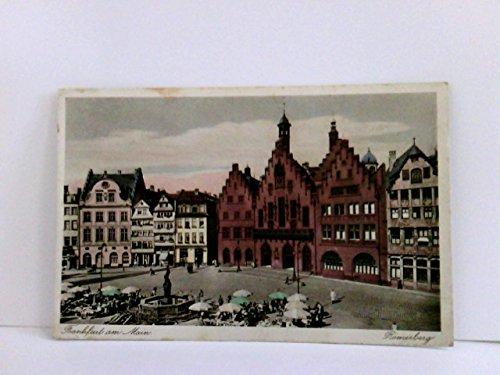 AK Frankfurt / Main. Römerberg. Gebäudeansicht, Brunnen, Straßencafe, Passanten, Sonnenschirme