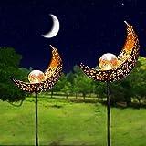 Solarlampe für Außen, 2 Stück LED Metall Mond-Form Stake Dekorative Gartenfahlständer Solarleuchte im Freien Gartendeko wasserdichte Pfahlpfad-Deko-Leuchten Solarleuchten Terrasse, Weg, Hof, Rasen
