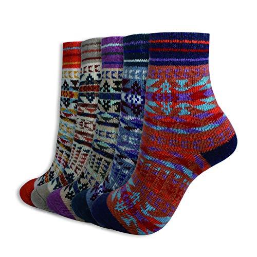PACOLO 5 Paar Damen Winter Socken Wollmischung Dicke Warme Socke UK 3-9 / EU 36-43 (Damen-13#)