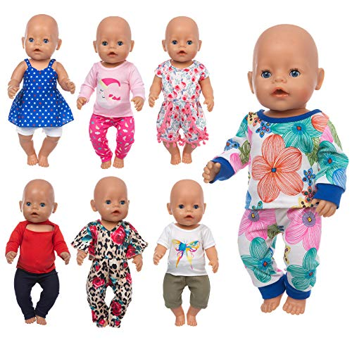 ZQDOLL 7 Sets 14-16 Inch Baby Doll Clothes Dress Outfits for 43cm New Born Baby Dolls,15 Inch Bitty Baby Doll and American 18 Inch Girl Doll