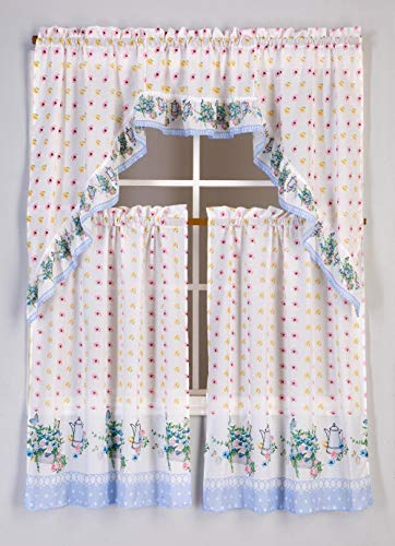 DiamondHome 3 Piece Kitchen Curtain Set: 2 Tiers and 1 Valance (Flowers)
