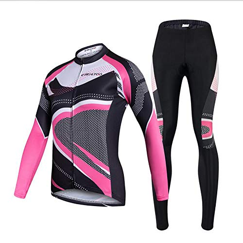 Yffksse Fietskleding met lange mouwen + broek fiets fietsen vrouwelijk jersey ademend sneldrogende kleding / 3D silicone