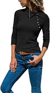 Wadonerful Women's Sweater Lapel Long Sleeve Slim Blouse Button Decoration Tops Solid Color Knitted Shirt Pullover