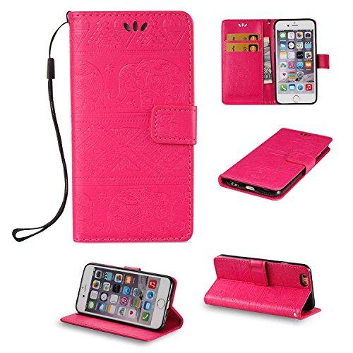 pinlu Schutzhülle Für iPhone 6 6S (4.7 zoll) Handyhülle Hohe Qualität PU Ledertasche Brieftasche Mit Stand Function Elefanten Muster Rose Rot