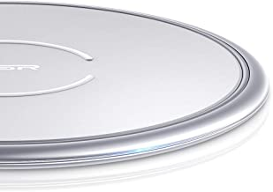 ESR Wireless Charger, Metal Frame Ultra-Thin Fast Charging Pad, 7.5W Compatible iPhone 11/11 Pro/11 Pro Max/XR/XS, 10W Fast Charging Galaxy S10/S10+/S10e/Note10, Google Pixel 3(No AC Adapter), Silver