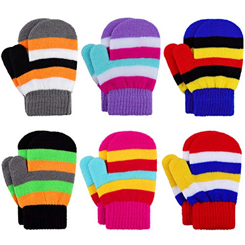 Cooraby 6 Pairs Warm Toddler Mittens Magic Stretch Kids Gloves Striped Mittens for Boys and Girls