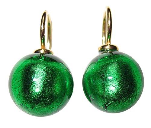 De Esmeralda Verde de oído de colgador Pendientes Cristal de Murano perlas 12mm de diámetro redondo plata de ley oro de Gallay 585oro forjado de trabajo único mano