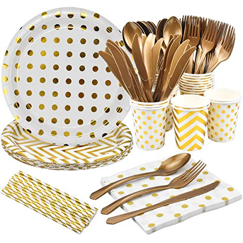 168 Pcs Golden Party Supplies Disposable Party Tableware Set, Golden Round Dot Golden Wave Paper Cups Paper Plates Napkins Straws Forks Spoons Knives for Party, Birthday, Anniversary for 24 Guests