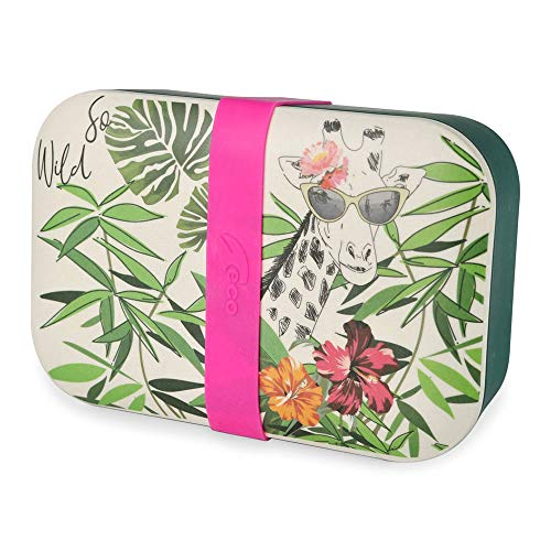 BIOZOYG Nachhaltige Lunchbox Erwachsene Bento Box Bambus Brotbox spülmaschinenfest I Robuste Vesperbox BPA frei Brotdose Bambus Brotzeitbox I Vesperdose Brotzeitdose Motiv Giraffe 19x13x6,5cm 900ml