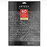 Arteza Papel carbón | 60 hojas de papel de calco | Tamaño 22.86 x 33.02 cm | Láminas ultrafinas de papel de grafito para calcar