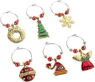 6pcs / set Alloy Zilver kerst Wine Glass Cup Decoratie Ring Party Feestelijke Huis vaatwerk Decors Ornamenten Hangers (Roo...