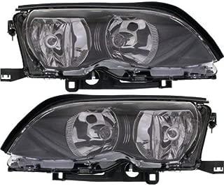 Headlight Assembly Compatible with 2002-2005 BMW 320i 325i 325xi 330i 330xi Halogen Black Interior Sedan/Wagon Passenger and Driver Side