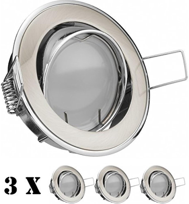 3er LED Einbaustrahler Set BiFarbe (chrom   gebürstet) mit LED GU5.3   MR16 Markenstrahler von LEDANDO - 5W - warmweiss - 110° Abstrahlwinkel - 35W Ersatz - A+ - LED Spot 5 Watt - Einbauleuchte LED rund
