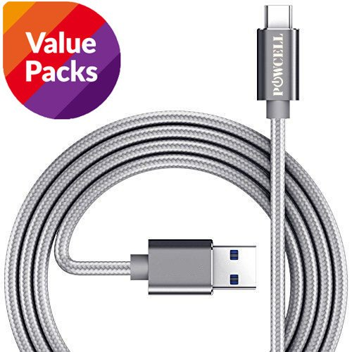 [Value Pack of 3] Nylon Braided USB C Fast Charger Cable Compatible: Google Pixel 3/ Pixel 2 / Pixel XL / Pixel 2 XL / OnePlus 6 / 6T 5 /5T / LG G7+ G6 G6+ V40+ / V30+ BlackBerry Evolve X KEY2 Keyone Motion Nokia 7 Plus 8 Fast Charge and Data Sync Cord (Gray, 1 Meter x 3)