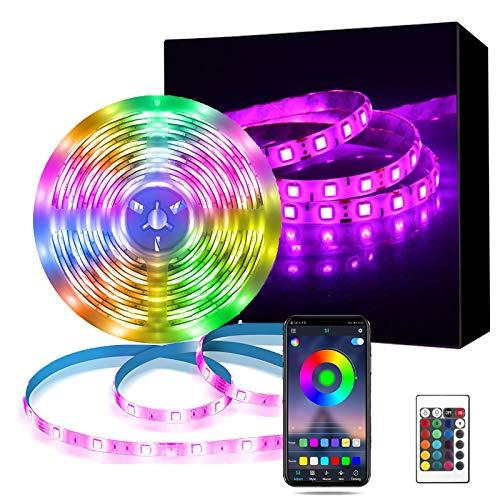 LED Strip 10m,Richsing LED Streifen Bluetooth,LED Lichterketter RGB,Dimmbar 5050 Lichtleiste Light,LED Lichtband mit Fernbedienung und App,Sync mit Musik,LED Leiste 12V für Haus,Garten,Dekoration