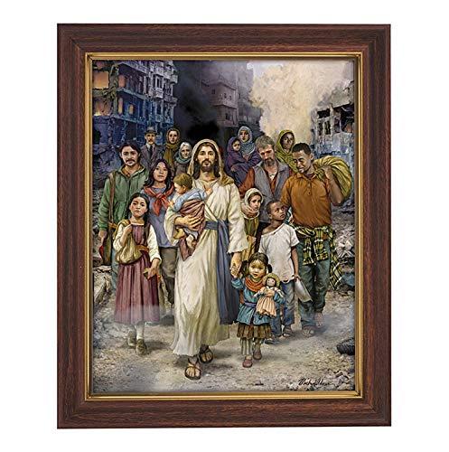"""Needzo Gerahmter Kunstdruck mit Aufschrift """"Welcome The Stranger Jesus Christus"""", Holzoptik, 25,4 x 32,3 cm"""