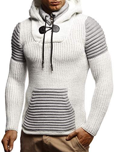 Leif Nelson Herren-Strickpullover Woll-Pullover Kaputze Moderner Pullover Sweatshirt LN5625; M; Ecru-Grau