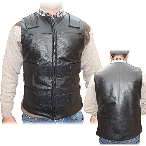 4Fit Men's Bullet Proof Style Motorcycle Biker Leather Vest-Black Small to 6XL (5XL)