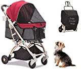 HPZ Pet Rover Lite Travel Stroller for Small & Medium Dogs, Cats & Pets (Ruby Red)
