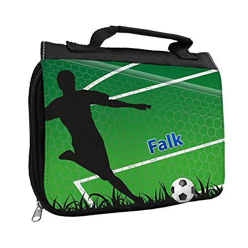 Kulturbeutel mit Namen Falk und Fußballer-Motiv mit Tor für Jungen | Kulturtasche mit Vornamen | Waschtasche für Kinder