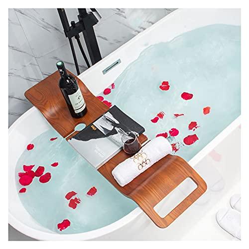 YOGANHJAT Bandeja para Bañera Lujoso Organizador de SPA, Madera Bañera Estante de Baño Tabla de Baño Soporte Estante para la bañera con Smartphone y Soporte para Copa de Vino