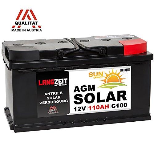 Solarbatterie 12V 110AH AGM Gel Batterie Wohnmobil Versorgungsbatterie Boot Solar Akku 100Ah 120Ah (110AH)