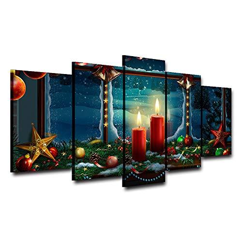 RUIXINBC Print Canvas Schilderij, 5 Stuks Muur Kunst Olie Schilderen Kerstmis Rode Kaars Foto Print op Canvas Woonkamer Decoratie