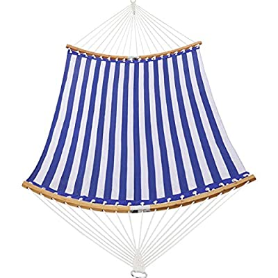 Patio Watcher 14 FT Quick Dry Hammock Folding Curved Bamboo Spreader Bar Portable Hammock for Camping Outdoor Patio Yard, Blue Stripes