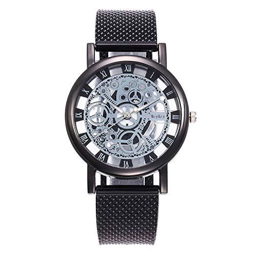 GreceMonday - Reloj de Pulsera para Hombre, diseño de Esqueleto, Correa de Malla, Unisex, de Cuarzo, Color Negro