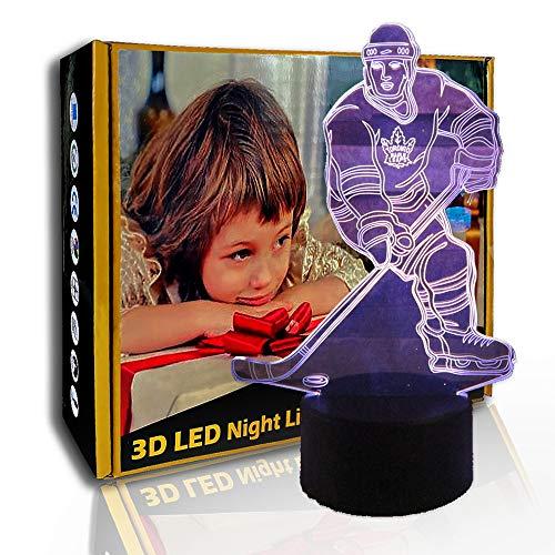 KangYD LED Nachtlicht Eishockey Bewegung, 3D Illusionslampe, visuelle Lampe, F - Bluetooth Audio Base (5 Farben), Hohe Qualität, Kunsthandwerk, Kunstnachtlampe, Moderne Lampe