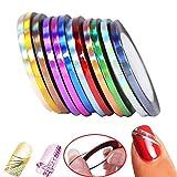 Rocita Set Pegatinas de uñas,Rollos Striping,Línea de cinta,Nail Art Decoración Sticker DIY uñas Multicolor Mixed (12 Colors/2mm)