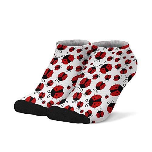 Mens Boys Ankle Low Cut No Show Socks Ladybug Bug Pattern Colorful Fashionable Cool Funny Saying Casual Athletic Short Tab Socks Black White