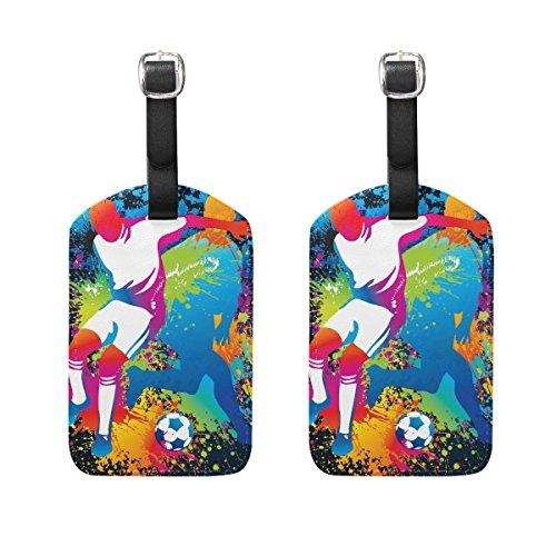 COOSUN Football-Spieler mit Fußball-Kofferanhänger Reise Labels Tag-Namenskartenhalter für Gepäck Koffer Tasche Rucksäcke, 2 PCS M Mehrfarbig