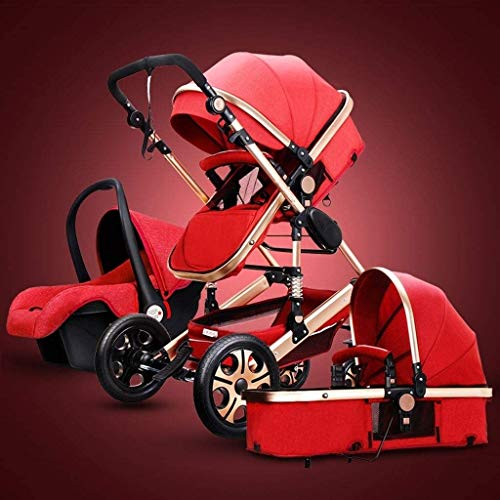 LIU Pram 3 in 1 Set, Baby Pushchair, Buggy, Foldable, with Infant Car Seat, Carrycot, Baby Carriage pramAccessories, Rain Cover, Footmuff, for Newborn, from Birth to 3 Years, Black (Color : Red)