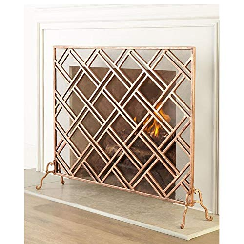 Affordable Fireplace Screen Wrought Iron with Mesh, Single Panel Large Spark Guard Cover for Home Li...